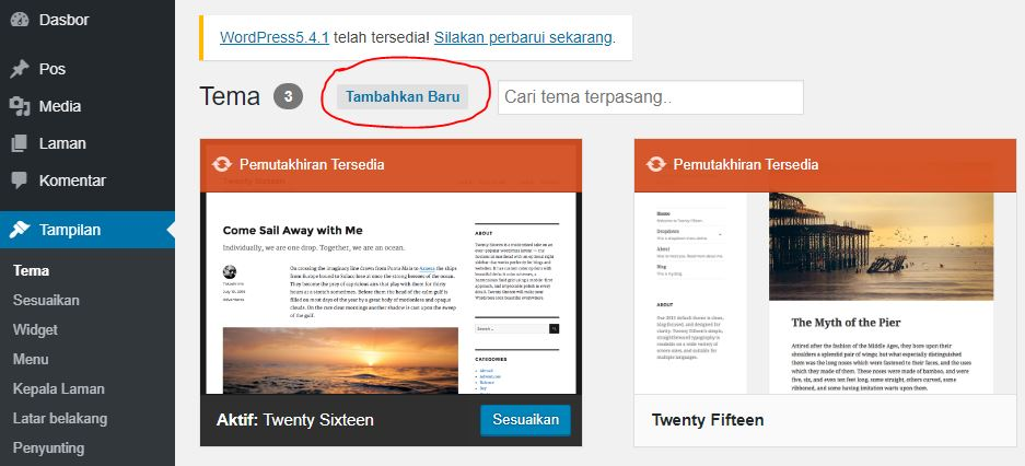 Tutorial Wordpress #2 :Dashboard Wordpress,Instal Thema dan Plugin
