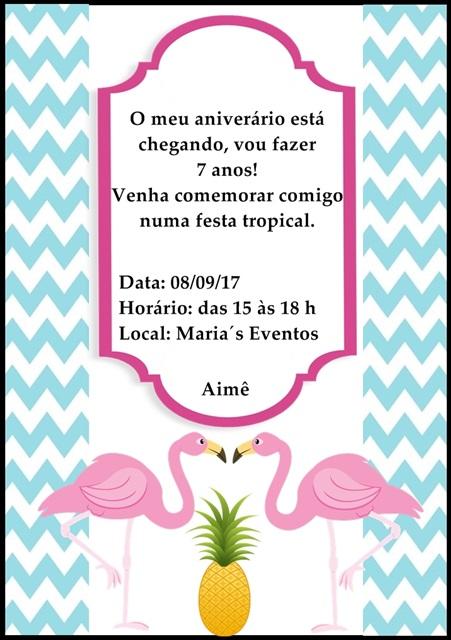 modelo de convite para festa de flamingos