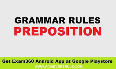 English Grammar - Usage of Preposition