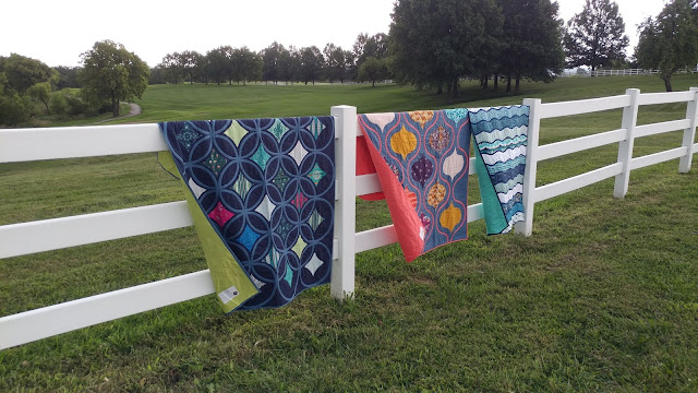 Bias tape applique quilts using Art Gallery Fabrics by Mister Domestic