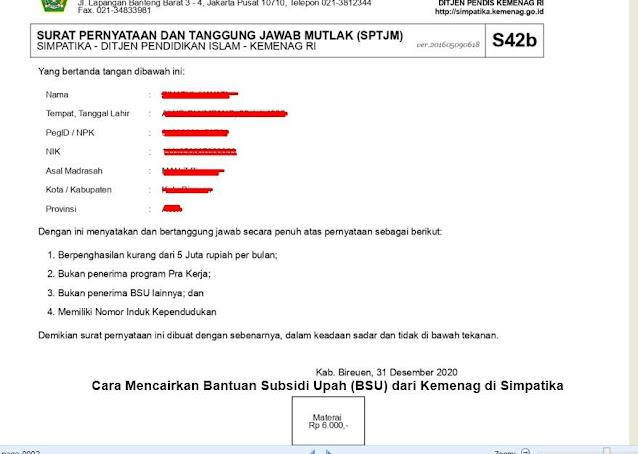 Cara Mencairkan Bantuan Subsidi Upah (BSU) dari Kemenag di Simpatika 4