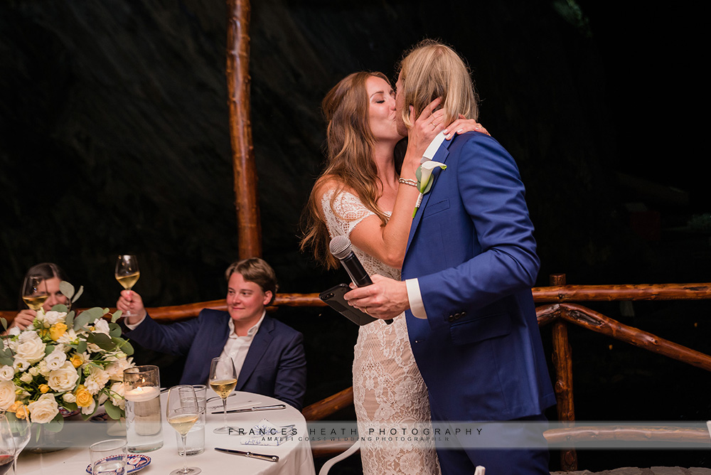 Bride kisses groom after wedding speech