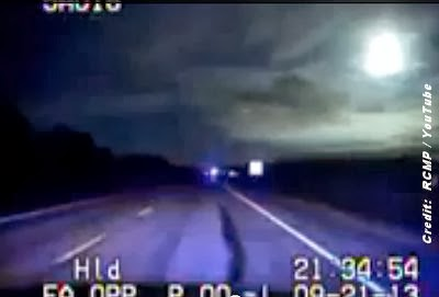 UFO or Meteor? Video from Police Dash Cam