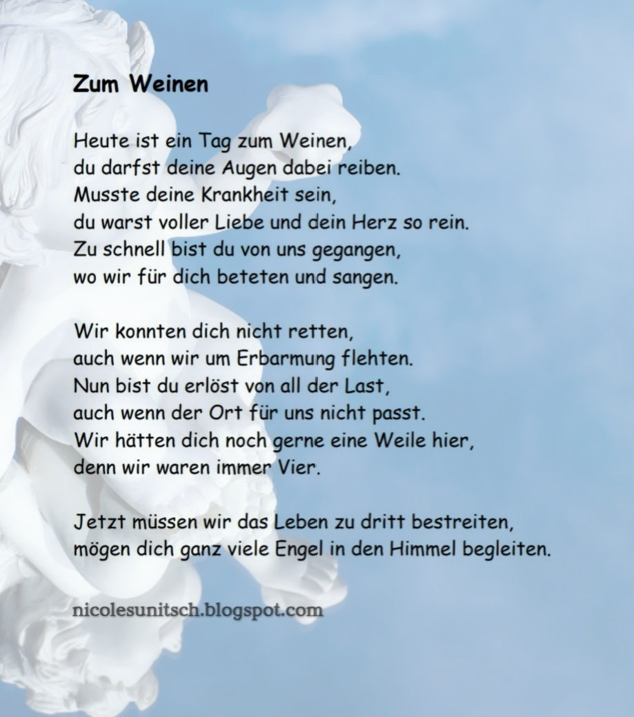 Gedichte von Nicole Sunitsch - Autorin : Zum Weinen