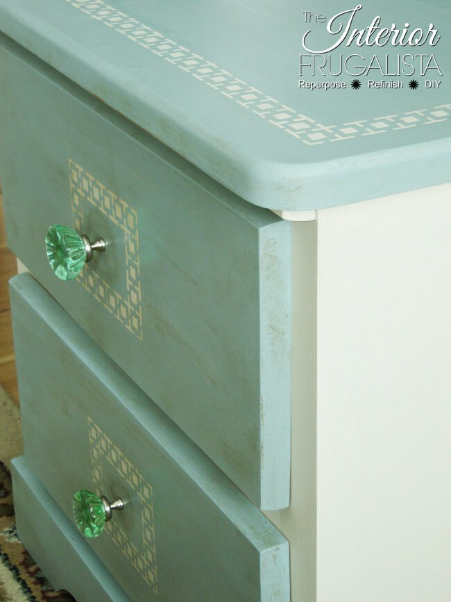 Greek Key Pine Bedside Table Stenciled