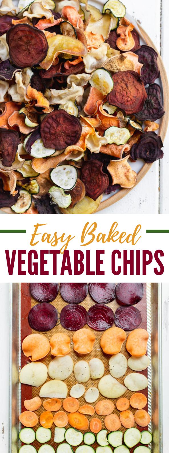 Easy Baked Vegetable Chips (Oil-Free) #vegetarian #snack