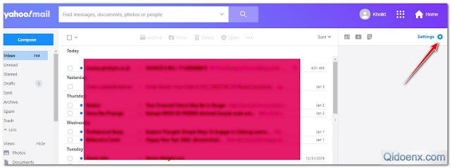 Cara Setting Yahoo Mail ke Mode Basic menu setting