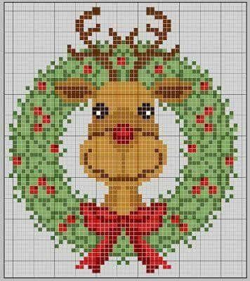 Mais de 50 Ideias Para Decorar No Natal. renas Em Ponto Cruz Com Diagramas