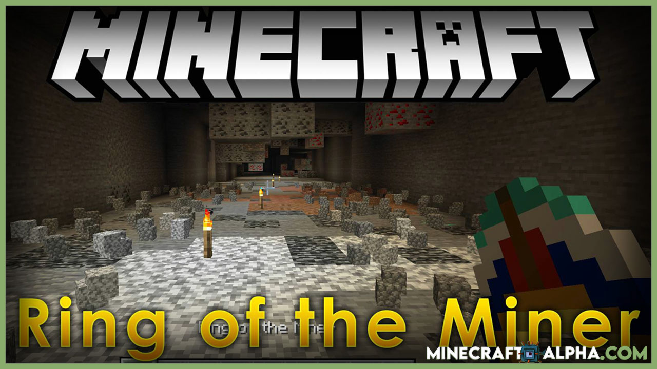 Minecraft Ring of the Miner Mod 1.17.1 (Clears Away Non-Ore Blocks Around Player)