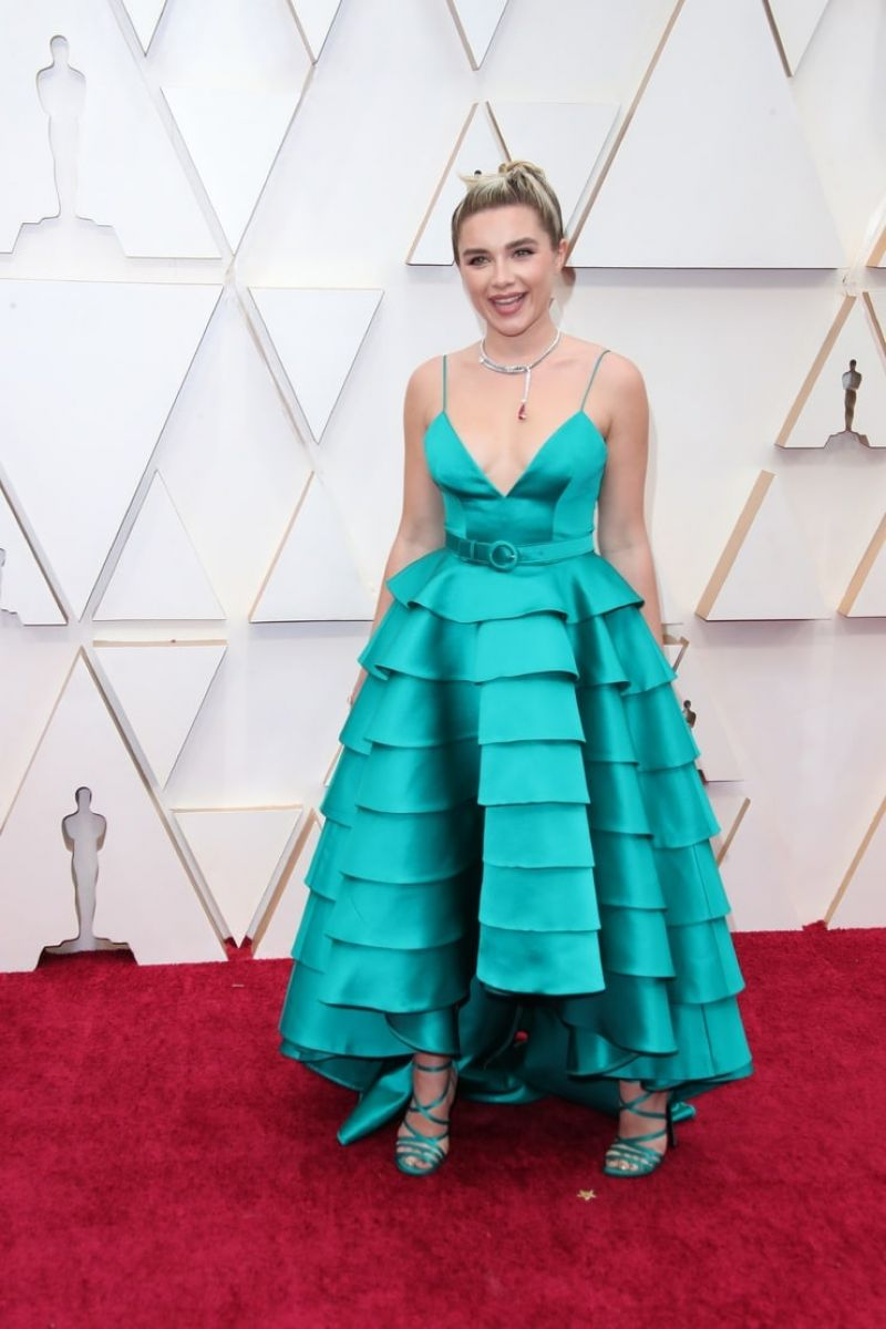 Florence Pugh makes a stylish splash on first Oscars red carpet
