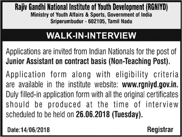 RGNYID Walk-in-interview for the post of Junior Assistant Post 2018