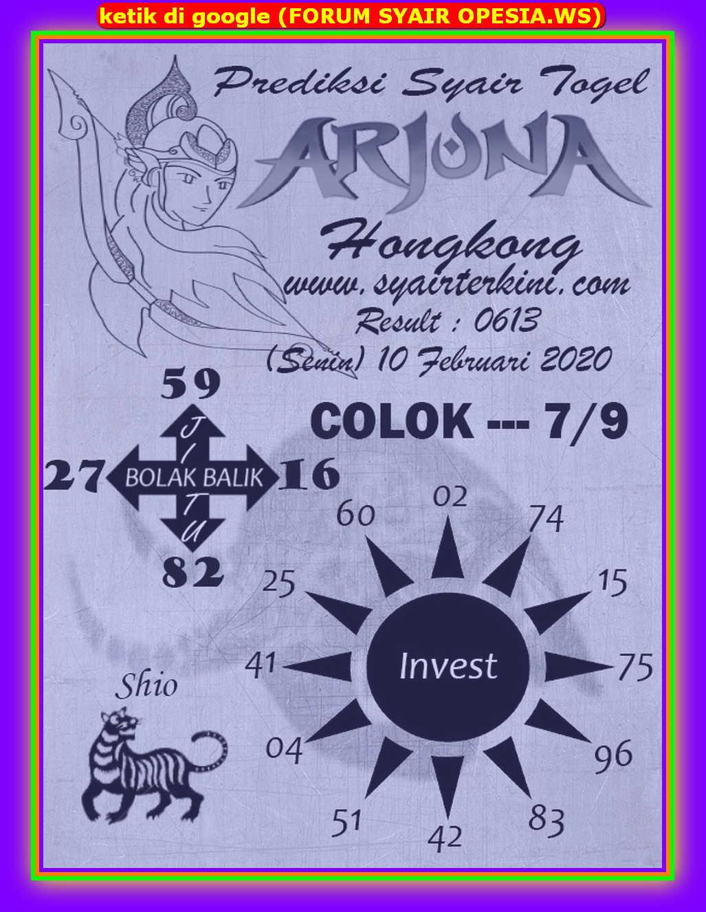 Kode syair Hongkong Senin 10 Februari 2020 102