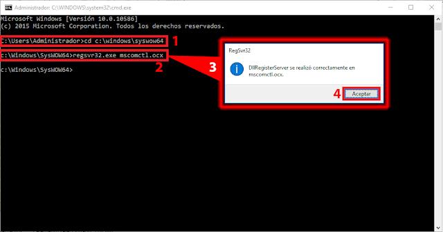 Símbolo del sistema, podremos registrar nuestros controles DLL o ActiveX utilizando REGSVR32