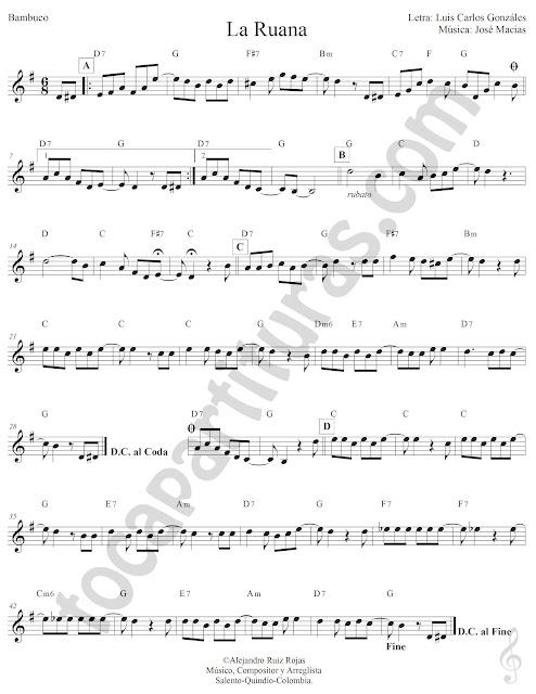 La Ruana Bambuco de Luís Carlos González Partitura Fácil con Acordes La Ruana Easy Sheet Music with Chords