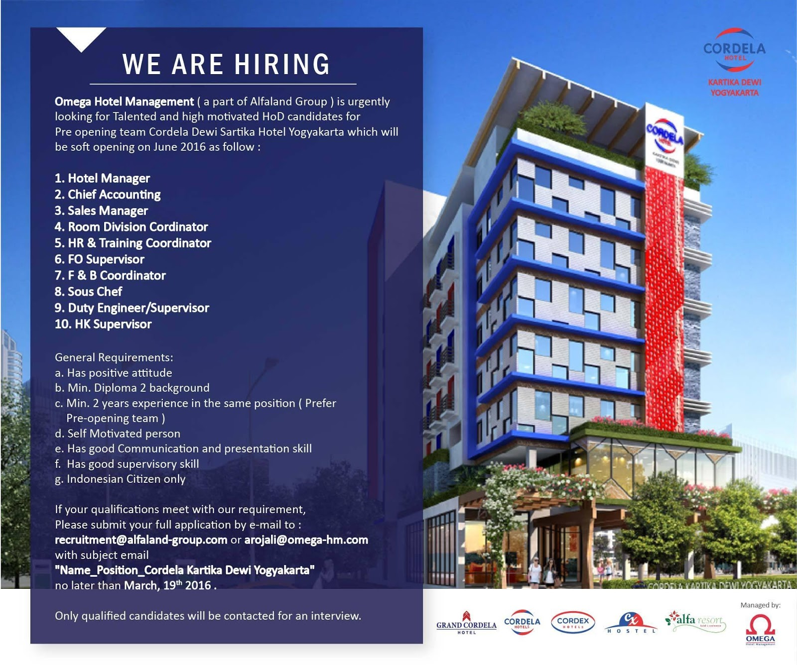 Vacancy for Pre Opening team Cordela Hotel Dewi Sartika
