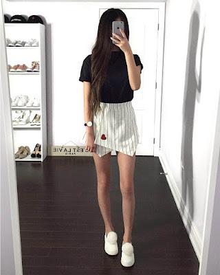 outfit casual minimalista con minifalda
