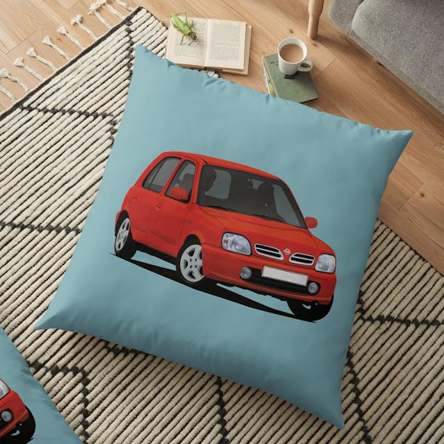 Nissan Micra March car illustration - home decor - pillow