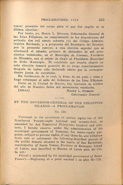 Proclamation No 193 s. 1928 English version.