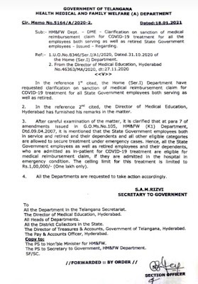 Government orders for reimbursement of employees or their family members treated for covid-19 up to Rs. 1 lakh.