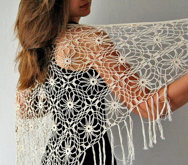 Crochet shawl pattern,  triangle, easy, quick, lace, summer