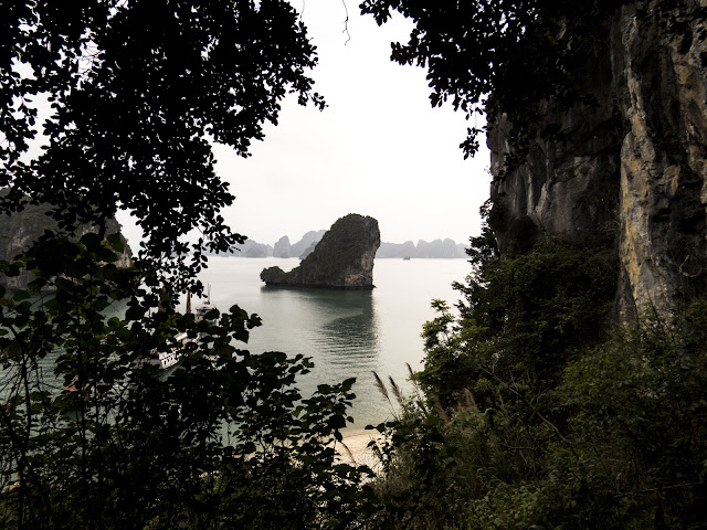 Whale-shaped rock in Halong Bay Vietnam