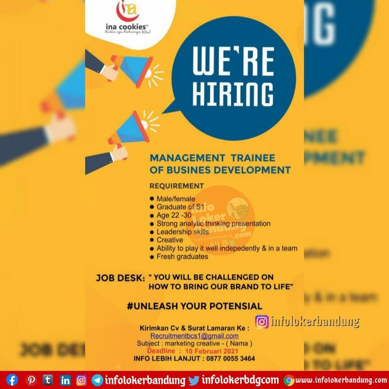Lowongan Kerja Ina Cookies Bandung Januari 2021