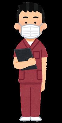 赤いスクラブを着た医療従事者のイラスト(男性)