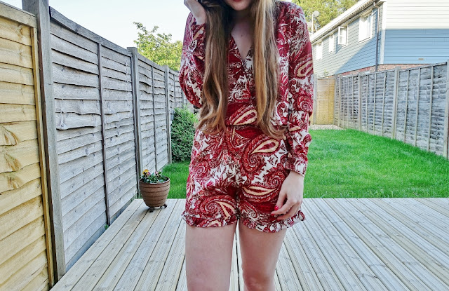 red detailed asos playsuit