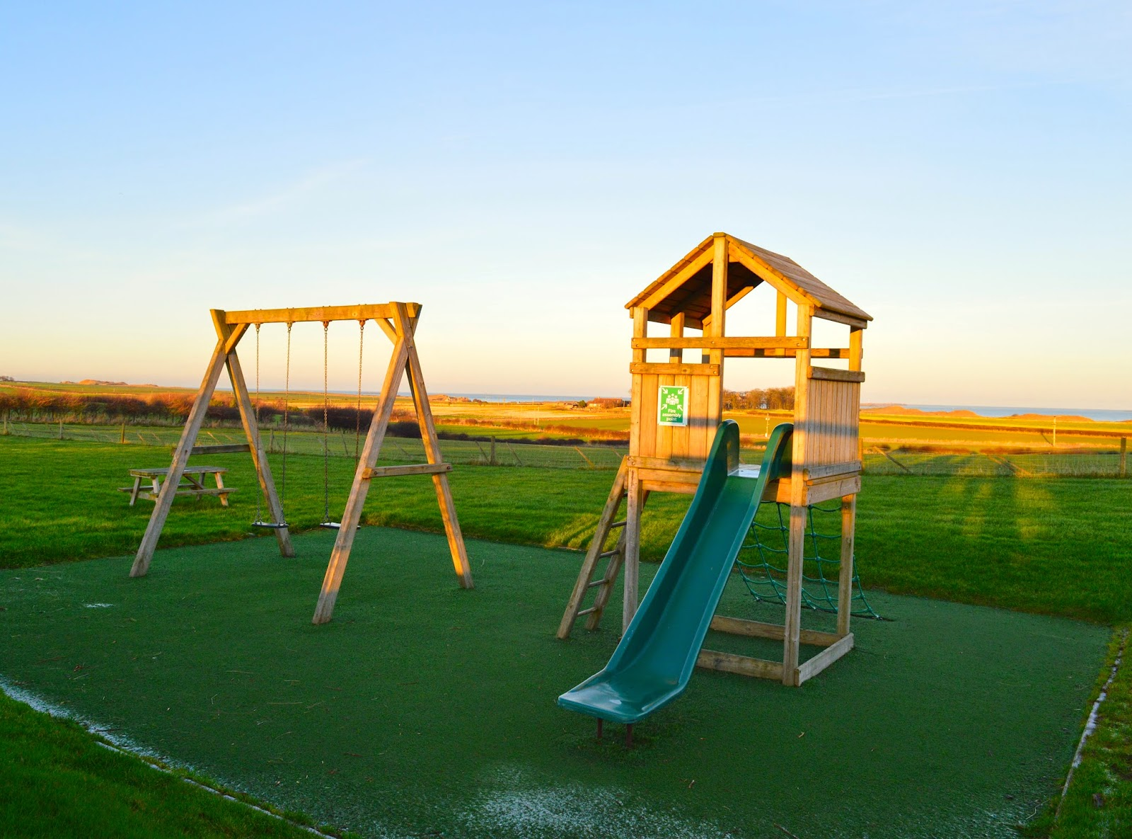 Top 10 Places to camp with your family in the North East & North Yorkshire - play area at Springhill Farm, Seahouses
