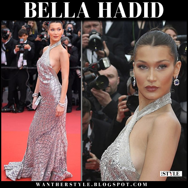 Bella Hadid in silver metallic gown elie saab red carpet dress cannes 2018