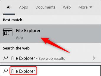 """اكتب """"مستكشف الملفات"""" في مربع البحث ، ثم انقر فوقه في النتائج."""