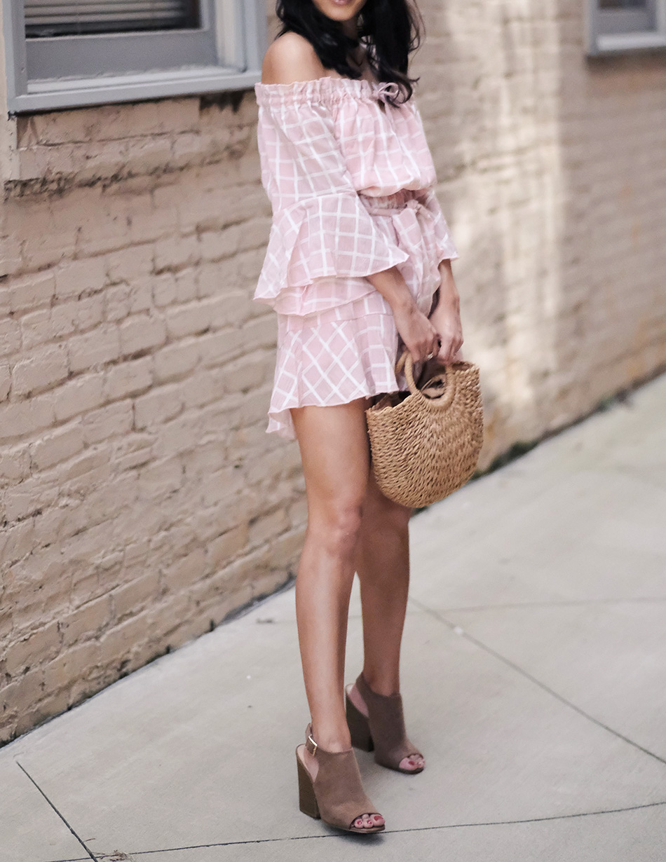 lulus straw bag, saved by the dress romper,  summer outfit ideas