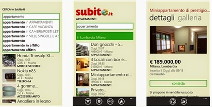 APP GRATIS SUBITO.IT IN ITALIANO PER SMARTPHONE E TABLET WINDOWS PHONE