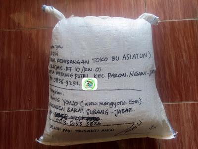 Benih padi yang dibeli    ABIDIN Ngawi, Jatim. (Setelah packing karung ).