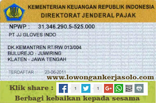Info Lowongan Kerja ( Loker Soloraya ) PT. JJ GLOVES INDO Klaten Terbaru