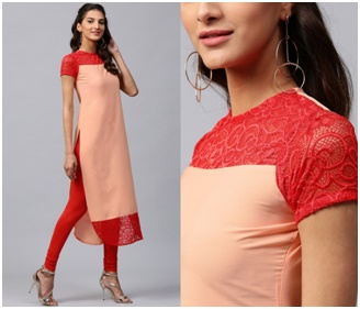 Illusion Neck Design Kurtis from Megha Shop Jaipur