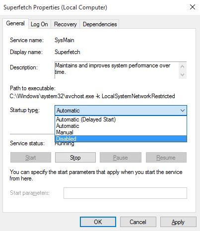 Menonaktifkan Superfetch Service Windows 10