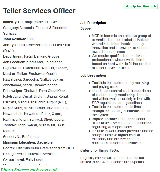 MCB Jobs 2021 - Latest Jobs in Muslim Commercial Bank Teller Service Officers March 2021