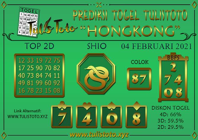 Prediksi Togel HONGKONG TULISTOTO 04 FEBRUARI 2021