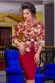 Rochie de seara bordo si crem cu imprimeu floral burgundy