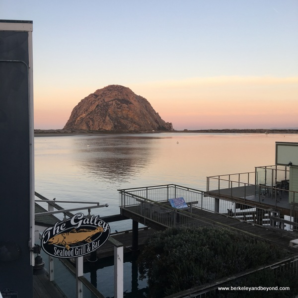 view of Morro Rock from guest room at Anderson Inn in Morro Bay, California