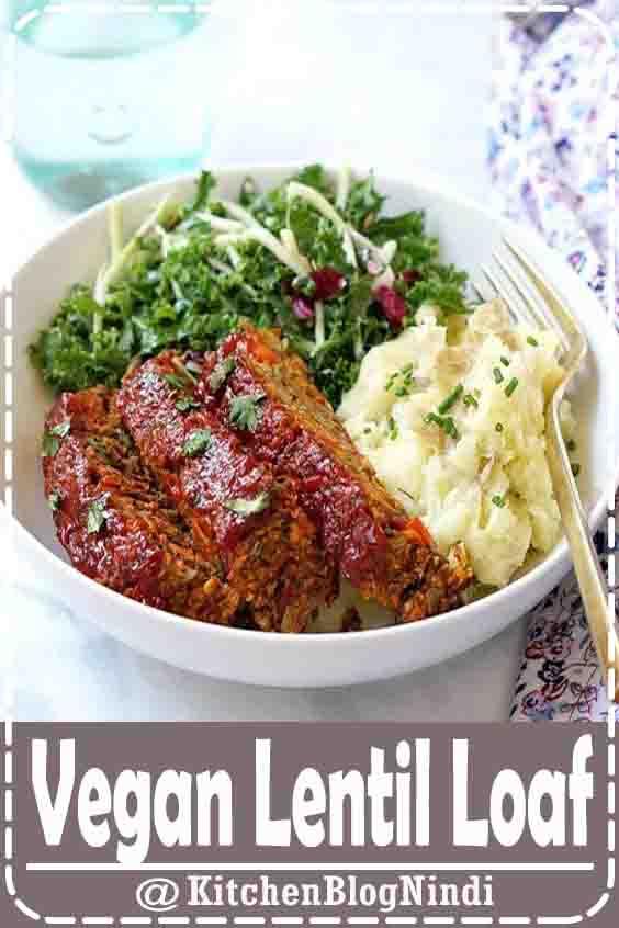 4.9★★★★★ | This easy veggie filled vegetarian and vegan lentil loaf is even better than the classic meatloaf! Be sure to use green or brown lentils, not red  #Vegan #LentilLoaf