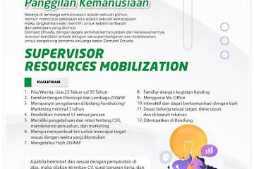 Lowongan Kerja Supervisor Resources Mobilization Dompet Dhuafa