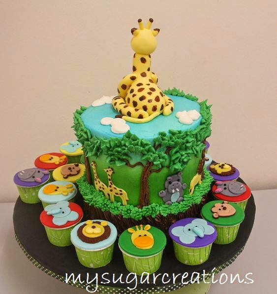 My Sugar Creations 001943746M Jungle Theme 1st Birthday Cake for