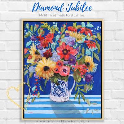 diamond-jubilee-mixed-media-floral-painting-merrill-weber