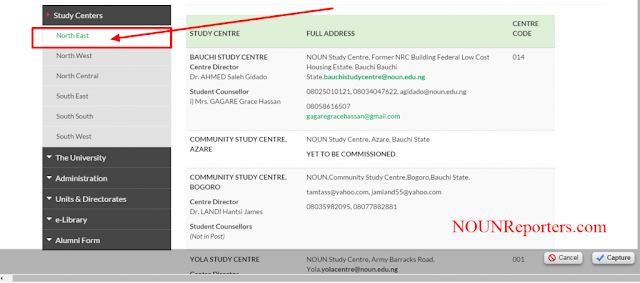 NOUN Study Centres by Geopoliitical Zones north east study centers