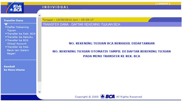 Cara Menambah Daftar Rekening Tujuan di KlikBCA / Internet Banking BCA - Halaman Rekening Tujuan BCA Berhasil Didaftarkan KlikBCA