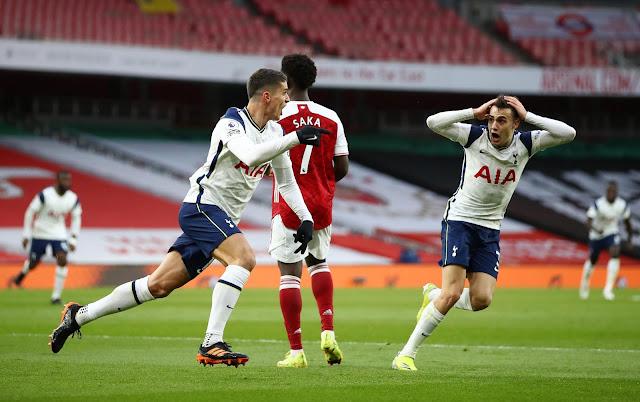 Reguilon's reaction to Lamela's goal for Tottenham  against Arsenal