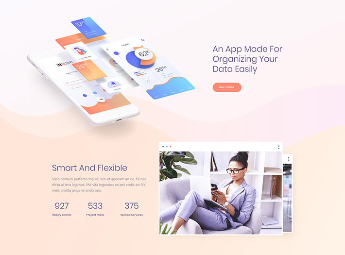 Web design example by Poppins Font