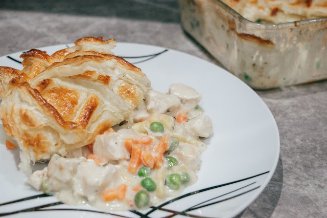 A portion of chicken and vegetable pie on a plate